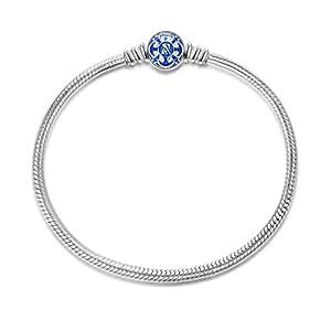 NinaQueen Charms Bracelet pour femme argent 925 Bleu compatible avec pandora charms bijoux Cadeau Saint Valentin Fete des Meres Anniversaire Cadeaux Noel Maman Mere Fille 17cm