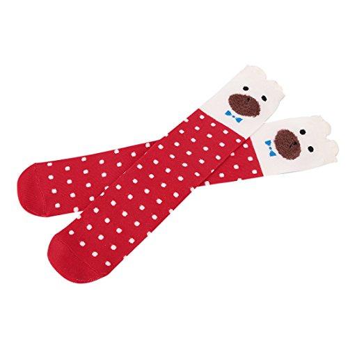 Kakaxi(TM) calze alte fino al ginocchio per bambina di cartone animato, 4 paia