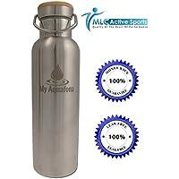 My aquafona Thermos Bottiglia termica in acciaio inox, 600ml, a doppia parete, 100% Senza BPA Con Bocca Larga beccuccio e coperchio in bambù. Perfetto per Yoga, Ashtanga Yoga, campeggio, trekking, palestra, Golf, la spiaggia e tutti i viaggi.