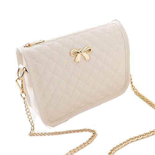 cindere Damen Handtasche Kunstleder lässig Bow Umhängetasche Gesteppte PU Leder Handtasche Süß Elegant mit Bowknot 4 Farben Beige