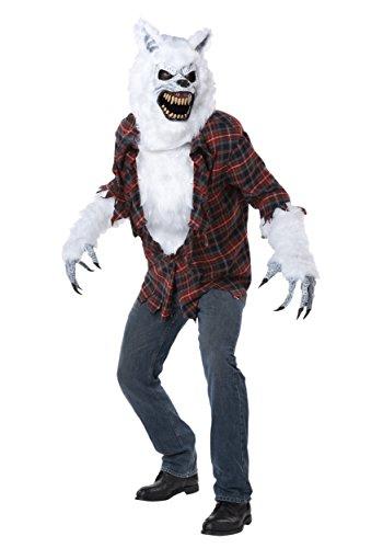 (Werwolf Weiß Monster Kostüm Maske Halloween Horror Karneval Verkleidung Herren Large/Extra Large)