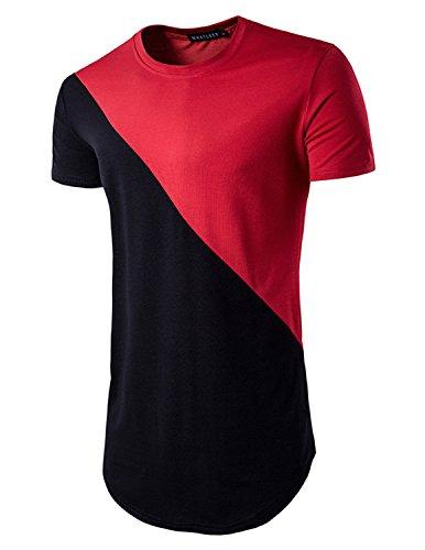 YCHENG Herren Lange Hipster T-Shirt Tee Slim fit mit Rundhals Rot
