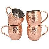 Navaris 4X Boccale per Moscow Mule in Rame - Set 4 Bicchieri da 500ml in Acciaio Rivestimento in Rame con Ampia Impugnatura per Cocktail Birra Drink