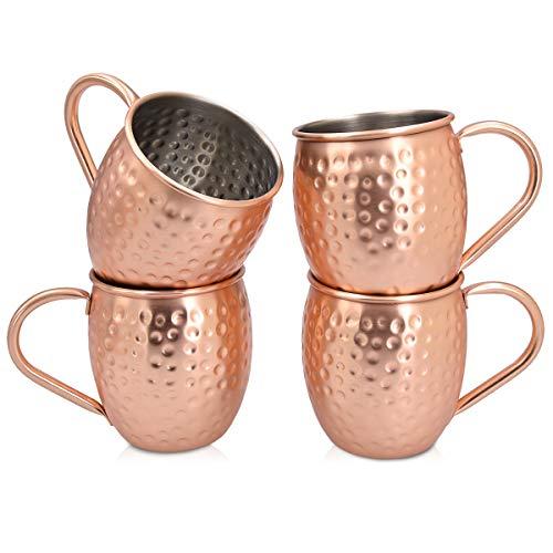 Navaris Moscow Mule Becher 4er Set - 4x Kupferbecher für Moskau Mule Gin Bier - Cocktail Mug gehämmert - Tasse aus Edelstahl mit Kupfer Cocktail-krug