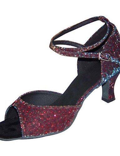 ShangYi Chaussures de danse ( Noir / Marron / Argent / Or / Autre ) - Non Personnalisables - Talon Bottier - Similicuir / Taffetas -Latine / bronze