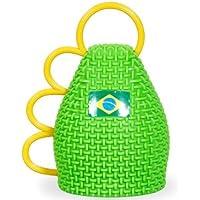 Set di 6 caxirola per tifosi di brasile brasiliano brasil accessorio selecao verde oro europei mondiali coppa strumento musica estate festa internazionale calcio (CAX-BR01)