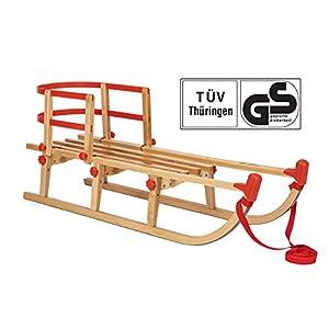 Impag® Klappschlitten Holzschlitten Rodelschlitten YARO | 115 cm lang | flach klappbar | stabiles Buchenholz | belastbar bis 110 kg | Zuggurt und Sicherheits-Lehne | TÜV geprüft
