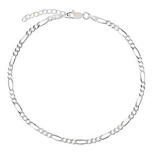 7K Fußkettchen, Fußkette, Figarokette aus 925 Sterling Silber als Fußschmuck für Damen und Mädchen, Länge 22-25cm, Modell 28