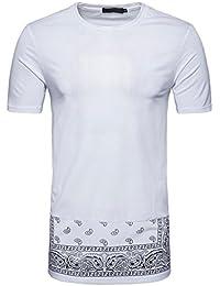 Zarupeng Herren Long Hip Hop Kurzarm T-Shirt, Beiläufige Dünne Freizeitshirt   Shaped Long Tee   Kurze Hülsen Rundhals Druck T-Shirt der Männer