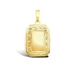 Gravur rechteckig Medaillon Anhänger Gelbgold 9ct Gold