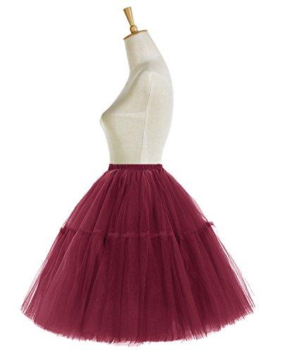 Bridesmay Damen 50er Tüllrock Ballettrock Tutu Petticoat Vintage Partykleid Unterkleid Burgundy