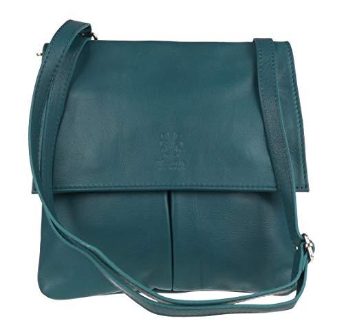 Elegant Fashions - Bolso Cruzados para Mujer Negro Verde Azulado Oscuro Medium