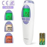 Thermomètre Frontal Infrarouge Oreilles pour Bébé, Hylogy Thermomètre Auriculaire Numérique Médical Professionnel pour Bébé, Enfant, Adulte et Object, Mesure Précise-Approuvé FDA/CE/ROHS (blanc)