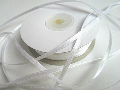 100m 3mm breit Satin Schleifenband Geschenkband Satinband Dekoband Hochzeit Weihnachten (Weiss)
