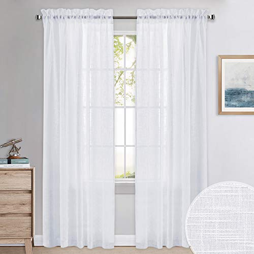 Pares de Cortinas Translucidas Visillos Blancas Estas cortinas ofrecen privacidad a la vez que dejan entrar la luz del exterior para que no te sientas desconectado del mundo. Las cortinas tienen una jareta en la parte superior para que las puedas col...
