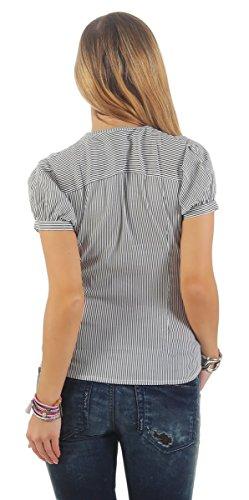 11181 Fashion4Young Leichte Damen Kurzarm Bluse Hemdbluse elastischer Stretch tailliert gestreift weiss-schwarz