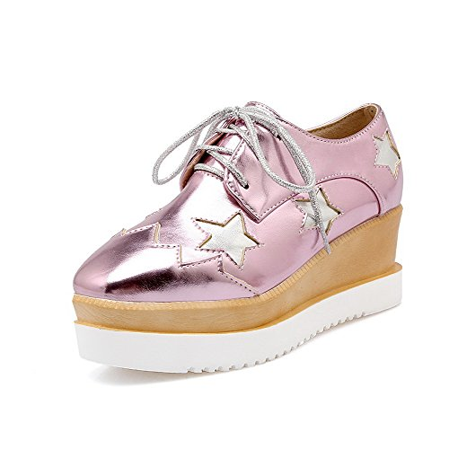 AgooLar Damen Schnüren PU Rund Zehe Mittler Absatz Gemischte Farbe Stiefel, Pink, 35