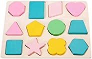 Toyvian 1Pc Wooden Shape Puzzles 12 Different Geometric Shape Sorter Toys Sorting Stacking Block Toy for Kids
