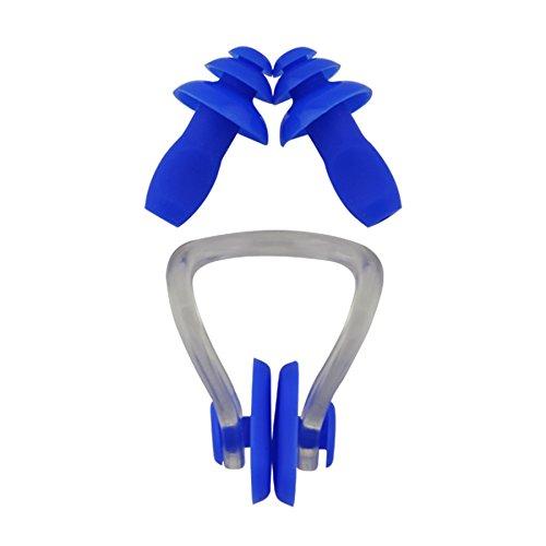 »Squeeze« stringinaso + tappi per le orecchie, ergonomici e idonei per nasi e orecchie di tutte le forme. Il silicone di qualità a luna durata / Blu