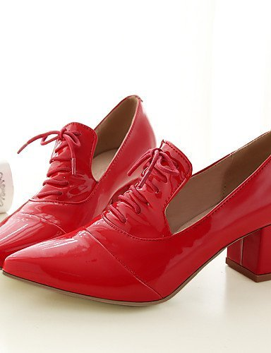 ShangYi DONNE - Stringate - Comoda/A punta - Quadrato Finta pelle - Nero/Rosa/Rosso/Bianco Pink