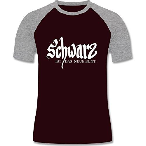 Sprüche - Schwarz ist das neue bunt - zweifarbiges Baseballshirt für Männer Burgundrot/Grau meliert