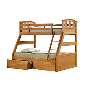 Oak Finished Hardwood Triple Sleeper Bunk Bed with Storage Drawers