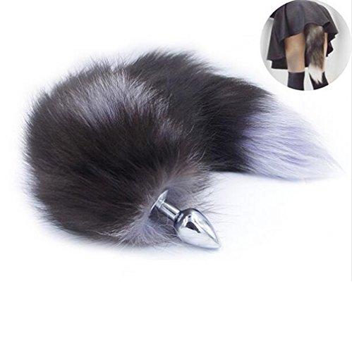 Grey Fox Cosplay Kostüm - Brinny Edelstahl Buttplug Analplug mit Fuchsschwanz