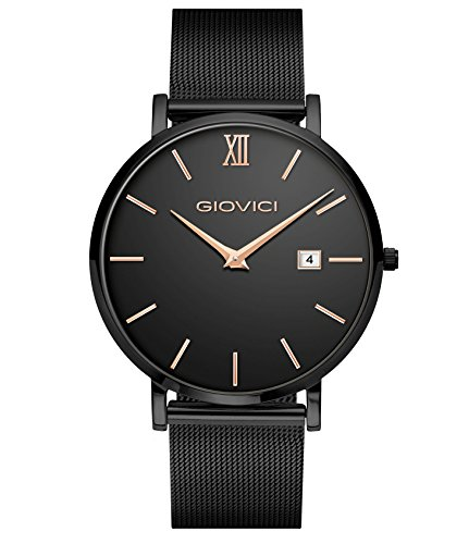 Giovici Mens Watches – Luxury Swiss Movement Designer Mens Watch – Giovici Olympus Date Window Black Face Wristwatch – Modern Mens Watch With A Classic Luxurious Charm (All Black Onyx Limited Edition)