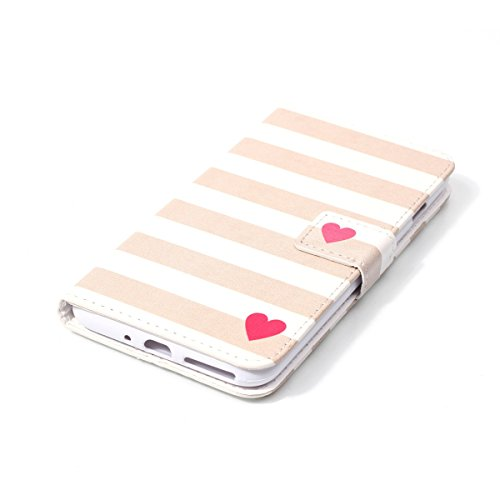 iPhone 7 Plus Coque, Apple iPhone 7 Plus Coque, Lifeturt [ Moonlight papillon ] Coque Dragonne Portefeuille PU Cuir Etui en Cuir Folio Housse, Leather Case Wallet Flip Protective Cover Protector, Etui E02-Stripe Love