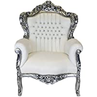 Casa Padrino Baroque Armchair King White Leather Look/Silver Bling Bling  Diamante   Lounge