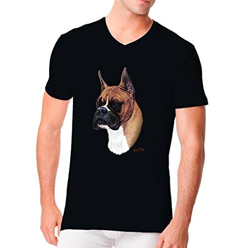 Im-Shirt - T-Shirt - Motiv : Boxer cooles Fun Men V-Neck - verschiedene Farben Schwarz
