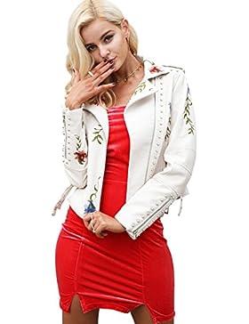 Simplee mujeres solapa de imitacion de cuero bordado ropa de motociclista chaqueta corta cremallera Outwear