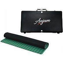 Conjunto de funda de transporte de aluminio negra de Anjum con fichas de póker y un liso tapete prémium. Incluye 300fichas de póker de 11,5g para Texas Holdem Casino