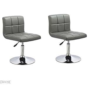 Duhome 635 Lot de 2 chaises de cuisine réglables en hauteur avec revêtement en cuir synthétique Gris