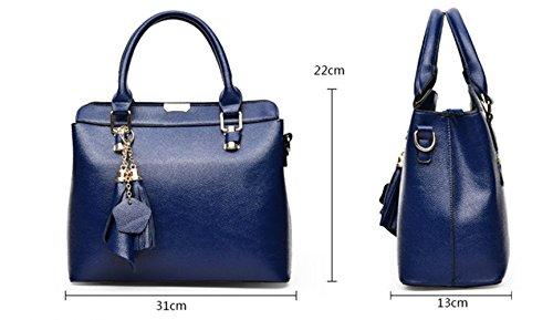 Ecollection® Damen Designer Style Schultertaschen Top Griff Tasche Handtaschen Women's Designer Style Shoulder Handbag Top Handle Bag 31x22x13 cm Schwarz
