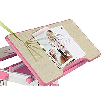 EFurnit Saturn Series Ergonomic Adjustable-Tiltable Study Desk & Winged-back Chair Set For Kids, Pink, With a pulled-out compartmented storage drawer, Tiltable Wood Grain Desktop & Embedded Pencil Box