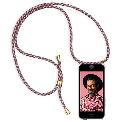 Zhinkarts Handykette kompatibel mit Apple iPhone 5 / 5S / SE - Smartphone Necklace Hülle mit Band - Schnur mit Case zum umhängen in Bordeaux/Rot Camouflage
