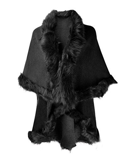 ZLYC Damen Helbst/Winter Strickjacke Pelerine Deckmantel mit Fell (Wrap Knit Sweater Top)
