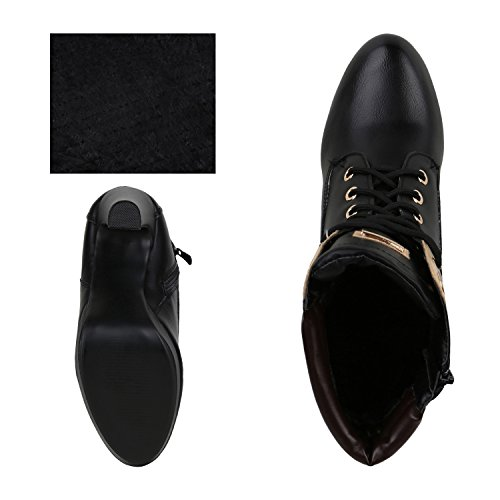 napoli-fashion Damen Schuhe Schnürstiefeletten Worker Boots Stiefeletten Block Absatz Jennika Schwarz Nero