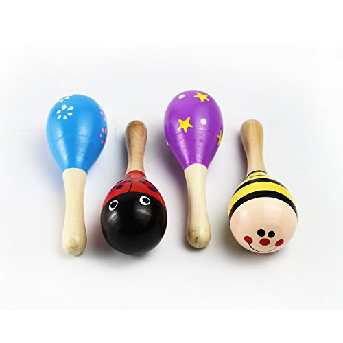 MUROAD 10 Pieces Wooden Maracas Percussion Rattle Shaker Sand Hammer Musical Instrument Educational Toys for Children,Random pattern Color