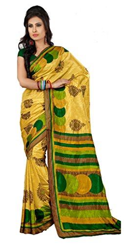 Samskruti Sarees Women Printed Art Silk Saree (SPAS-45,Yellow)