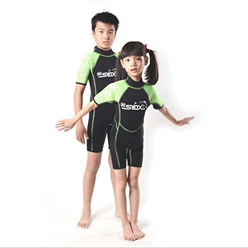Gresonic Tauchanzug 2mm Kinder Neoprenanzug Kurz Shorty Shorts Surfanzug Mädchen Jungen für Tauchen Schwimmen Surfen Grün XXL
