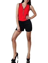 38d26a5e68a8 N898 Damen Jumpsuit Hot Pants Overall Einteiler Hosenanzug Catsuit Capri  Shorts