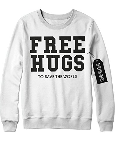 Sweatshirt Free Hugs To Save The World Peace Weltfrieden Hipster Patch Dalai Lama H970005 Weiß (Kostüme Lady Luck)