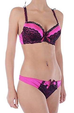Damen Satin Super Verstärkung Schwer Gepolsterter Push Up BH Set Spitze Tanga (70B + S, Hot Pink)