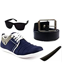 Combo 4-in-1 Cognac Men's Synthetic Blue Casual Shoes Sneakers (6, Blue)