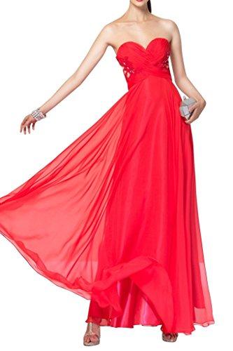 La_mia Braut Wunderschoen Chiffon Spitze Traegerlos Abendkleider ballkleider Partykleider Lang A-linie Neu Rot