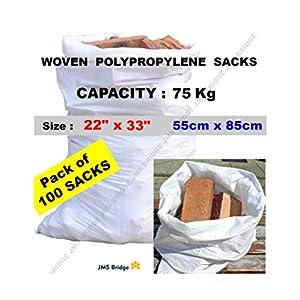 419ZSLv7JRL. SS300  - 100 bolsas de polipropileno de doble costura, resistentes, color blanco, para sacos de arenaTamaño:55 cm x 85cm.Capacidad de carga:75 kg aprox (paquete de 100 bolsas).