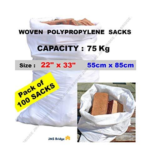 100 bolsas de polipropileno de doble costura, resistentes, color blanco, para sacos de arenaTamaño:55 cm x 85cm.Capacidad de carga:75 kg aprox (paquete de 100 bolsas).