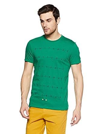 United Colors of Benetton Men's Printed Regular Fit T-Shirt (18P3096M7793I_Green_S)